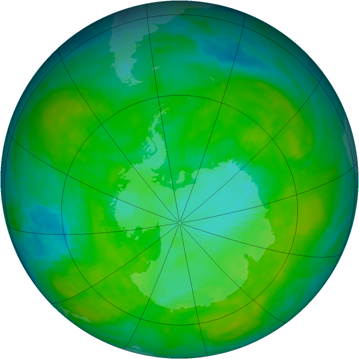Antarctic ozone map for 25 December 1986