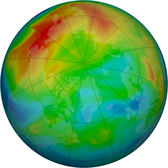 Arctic ozone map for 29 December 1986