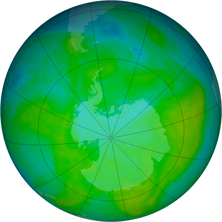 Antarctic ozone map for 29 December 1986