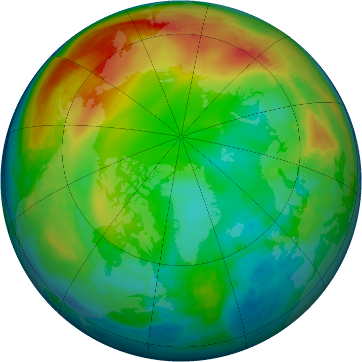 Arctic ozone map for 31 December 1986