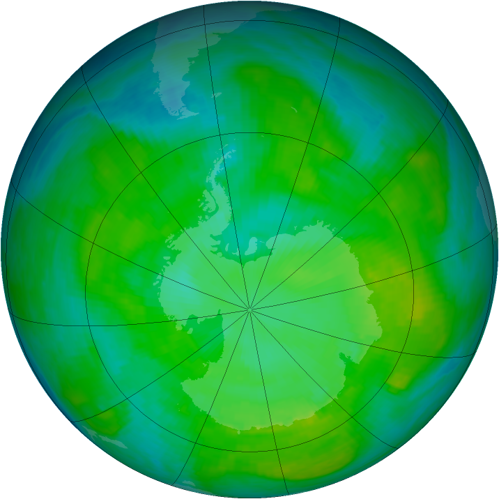Antarctic ozone map for 31 December 1986