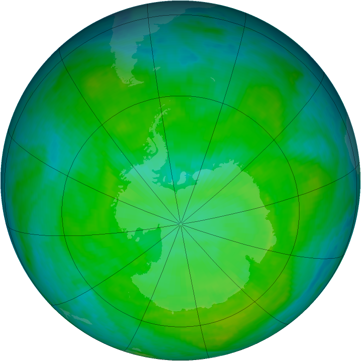 Antarctic ozone map for 03 January 1987