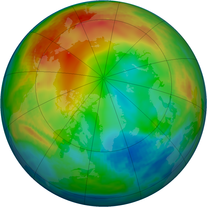 Arctic ozone map for 05 January 1987