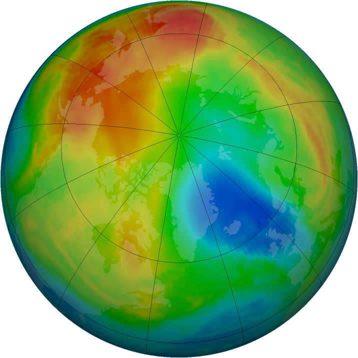 Arctic ozone map for 08 January 1987