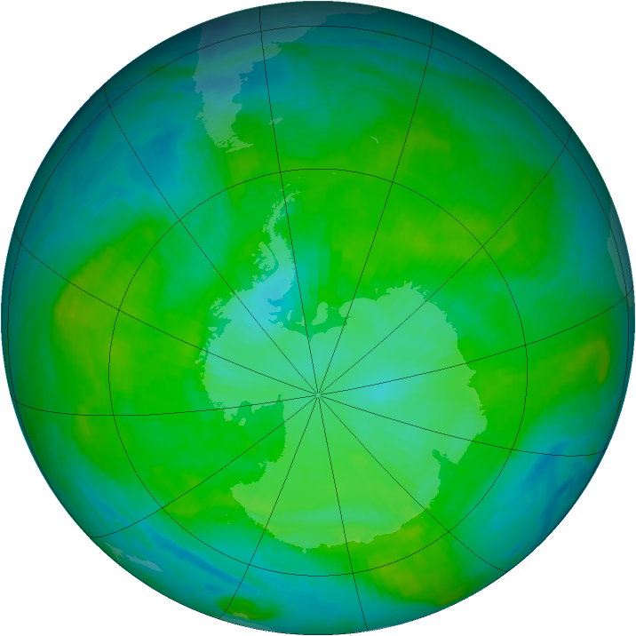 Antarctic ozone map for 08 January 1987