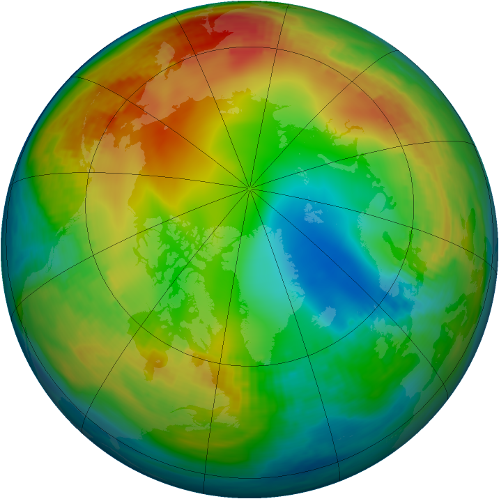 Arctic ozone map for 09 January 1987