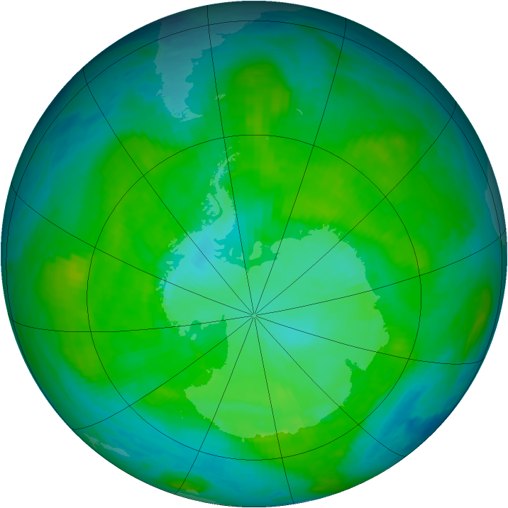 Antarctic ozone map for 09 January 1987