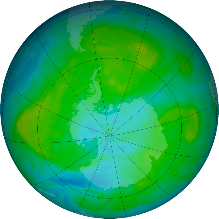 Antarctic ozone map for 12 January 1987