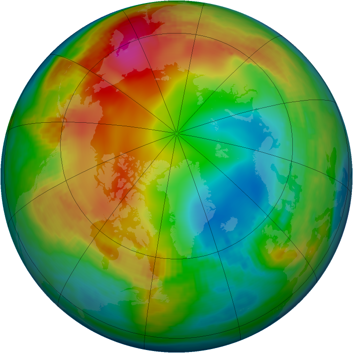 Arctic ozone map for 14 January 1987