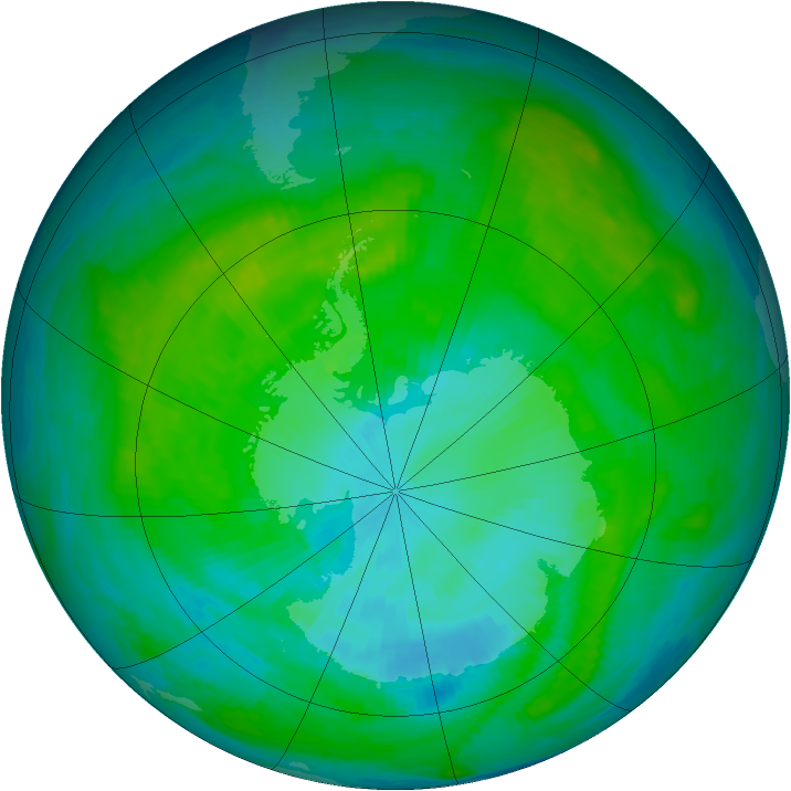 Antarctic ozone map for 15 January 1987