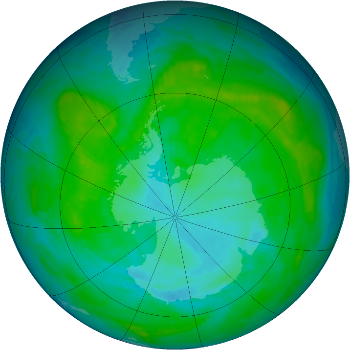 Antarctic ozone map for 18 January 1987