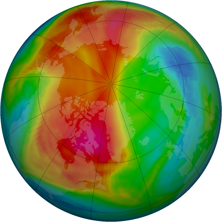 Arctic ozone map for 21 January 1987