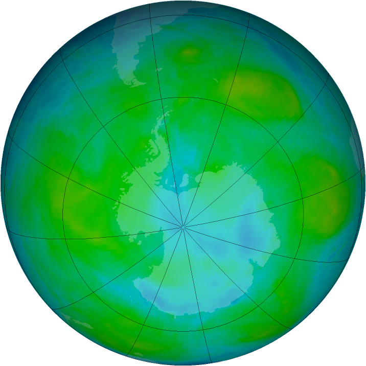Antarctic ozone map for 21 January 1987