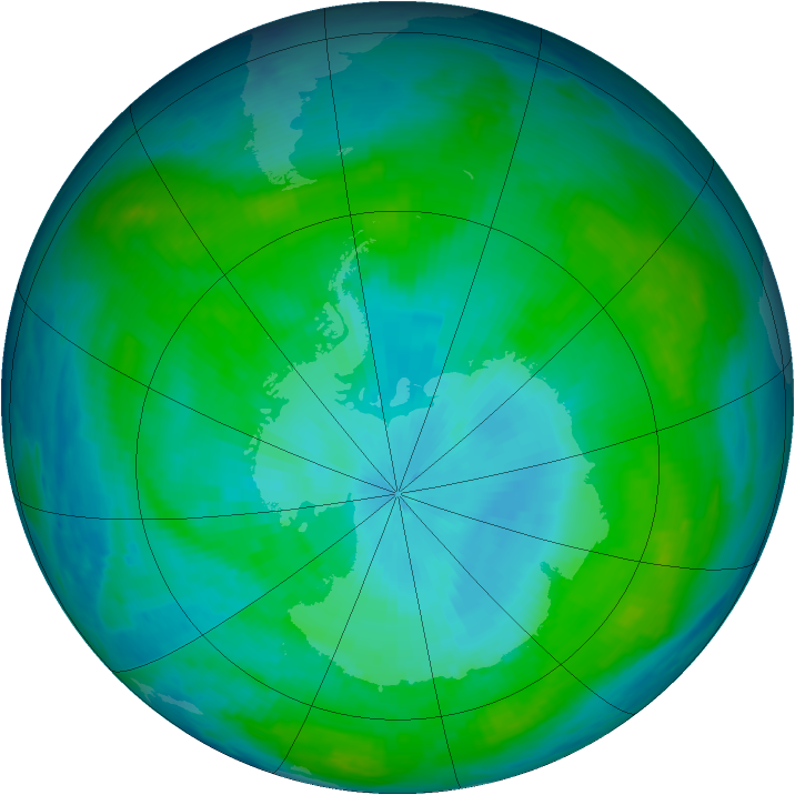 Antarctic ozone map for 27 January 1987