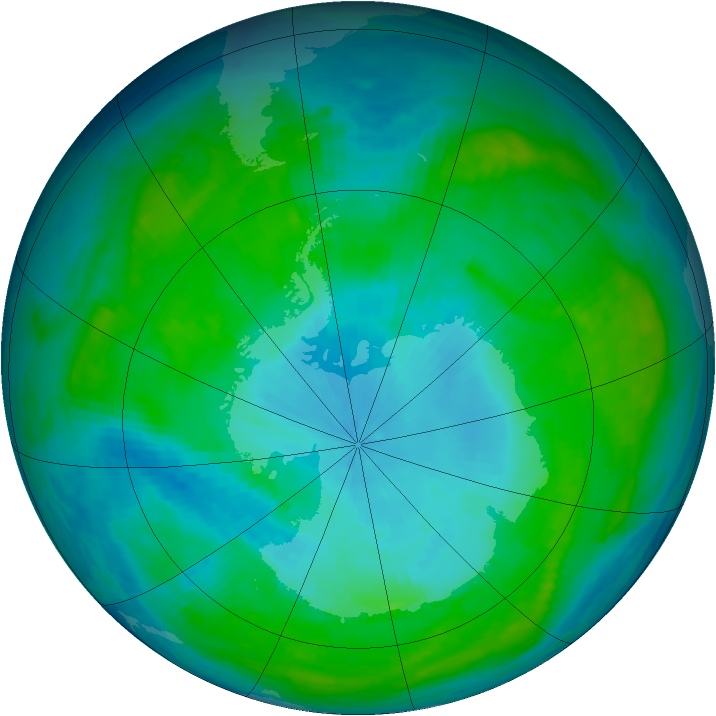 Antarctic ozone map for 29 January 1987