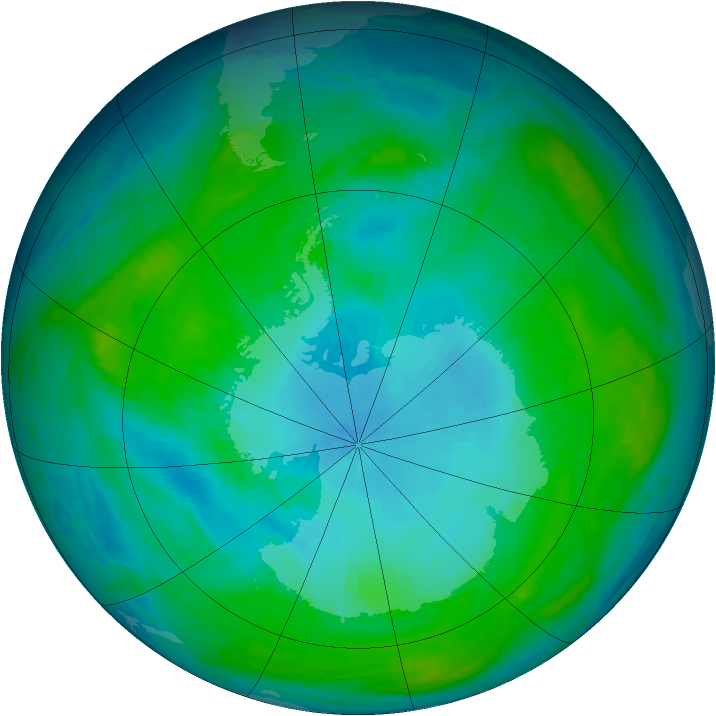 Antarctic ozone map for 30 January 1987