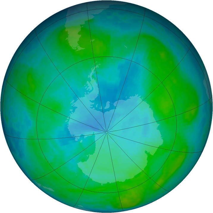 Antarctic ozone map for 06 February 1987
