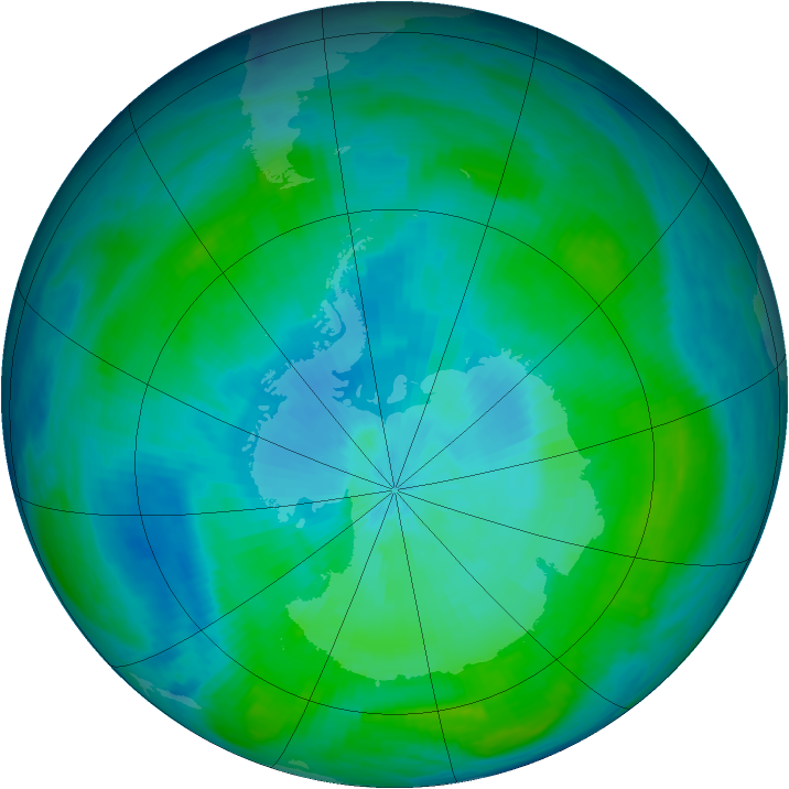 Antarctic ozone map for 12 February 1987