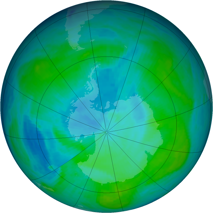 Antarctic ozone map for 13 February 1987