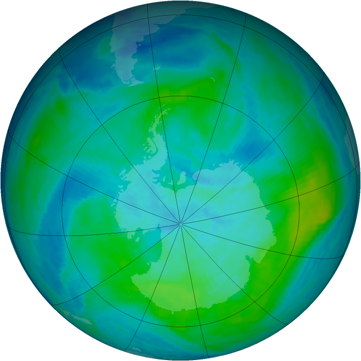 Antarctic ozone map for 03 March 1987