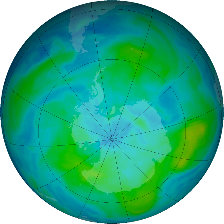Antarctic ozone map for 04 March 1987