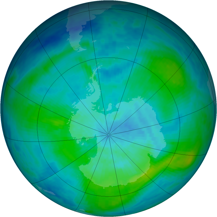 Antarctic ozone map for 06 March 1987