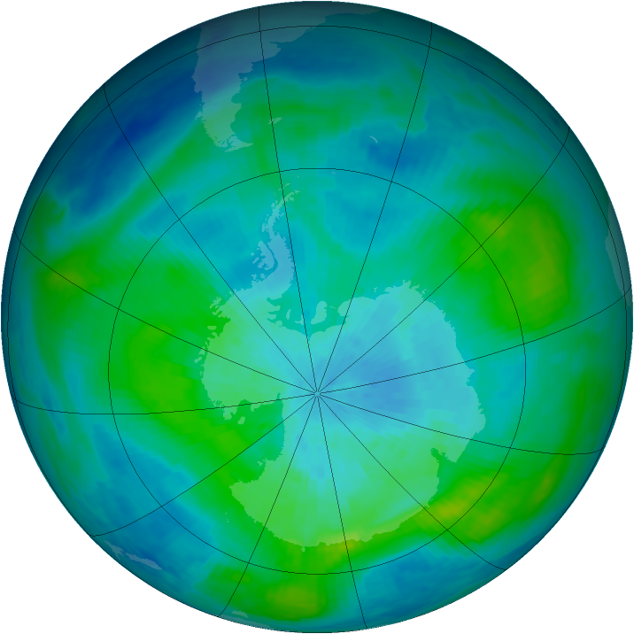 Antarctic ozone map for 07 March 1987