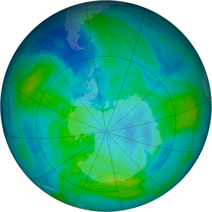 Antarctic ozone map for 09 March 1987