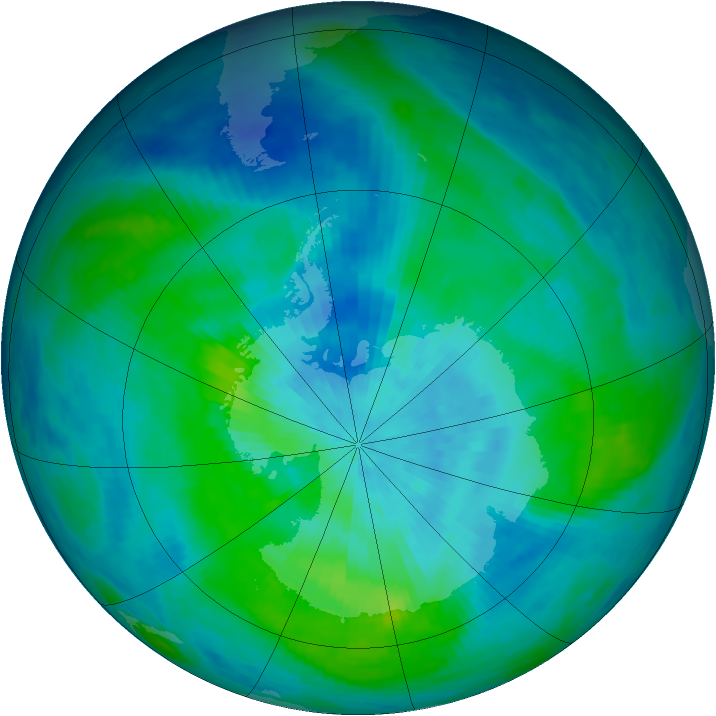 Antarctic ozone map for 10 March 1987