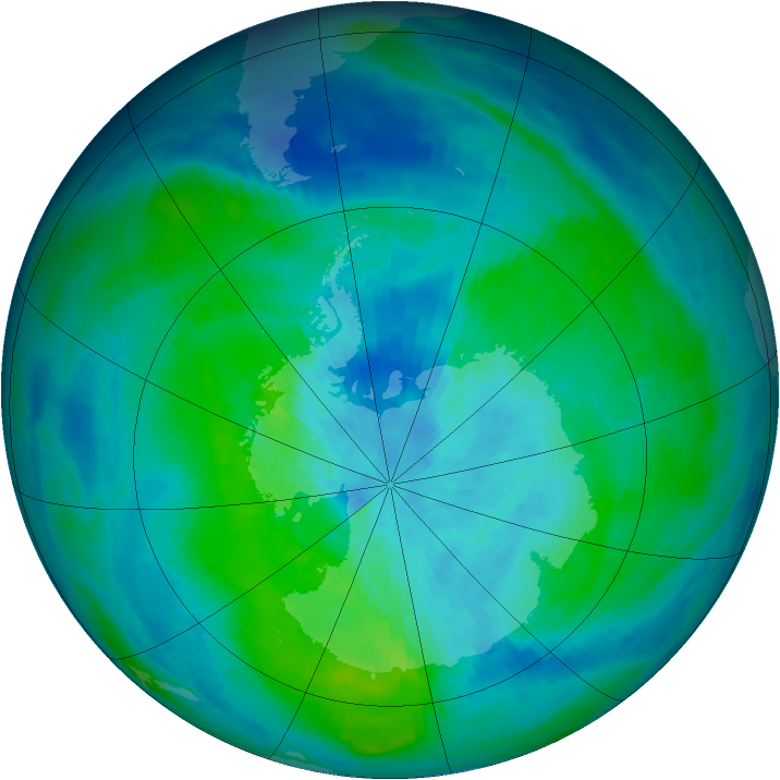 Antarctic ozone map for 11 March 1987
