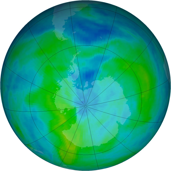 Antarctic ozone map for 12 March 1987
