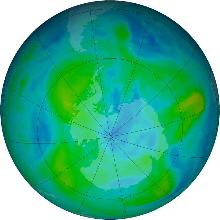 Antarctic ozone map for 15 March 1987