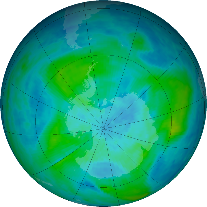 Antarctic ozone map for 16 March 1987