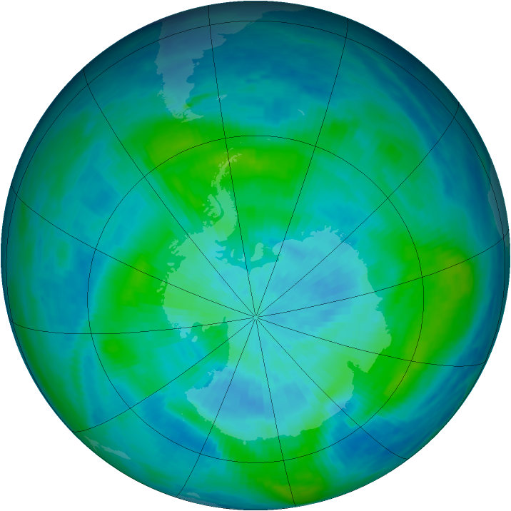 Antarctic ozone map for 17 March 1987