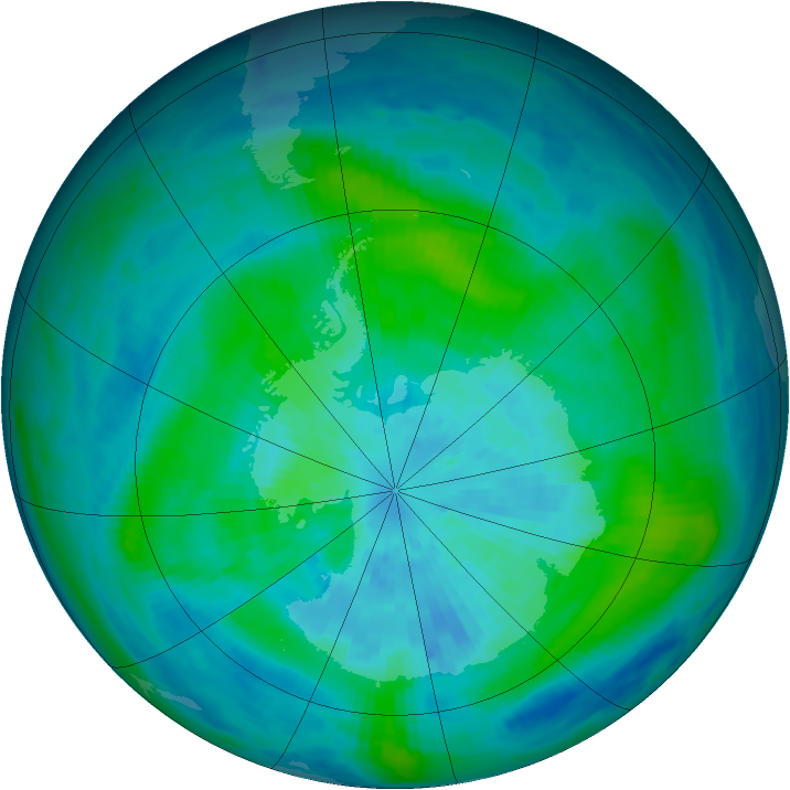 Antarctic ozone map for 18 March 1987