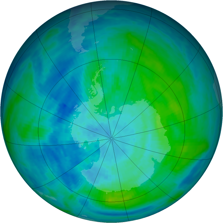 Antarctic ozone map for 21 March 1987