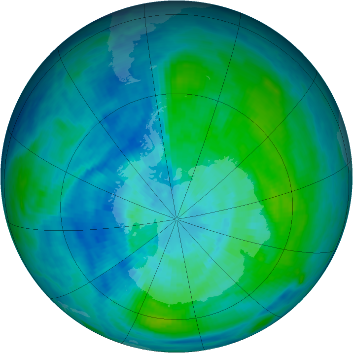 Antarctic ozone map for 22 March 1987