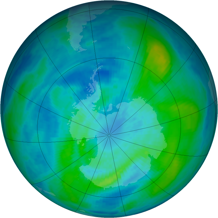 Antarctic ozone map for 24 March 1987