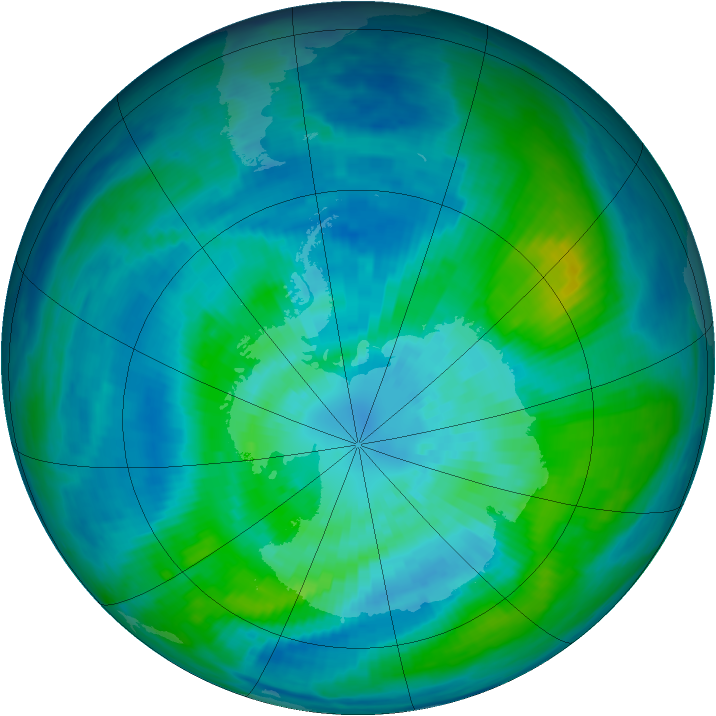 Antarctic ozone map for 25 March 1987