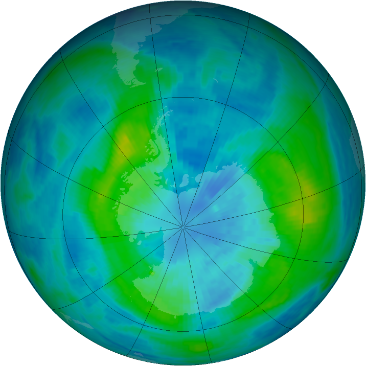 Antarctic ozone map for 27 March 1987