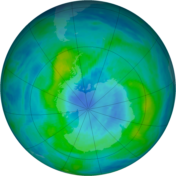 Antarctic ozone map for 29 March 1987