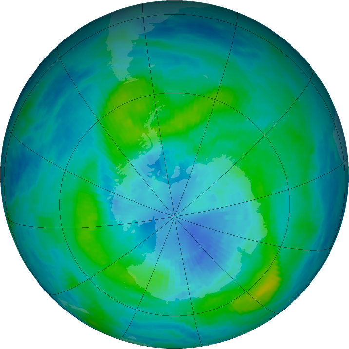Antarctic ozone map for 31 March 1987