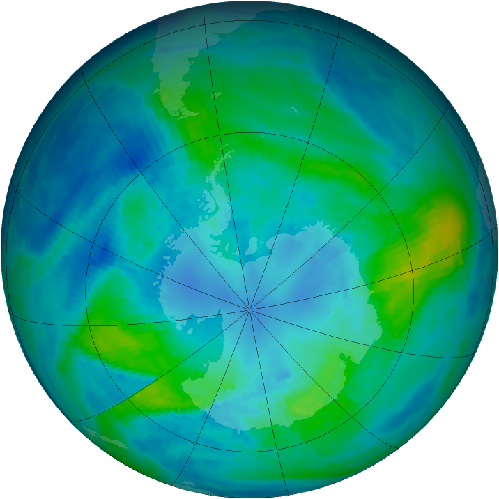 Antarctic ozone map for 10 April 1987
