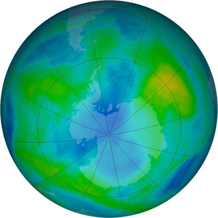 Antarctic ozone map for 25 April 1987