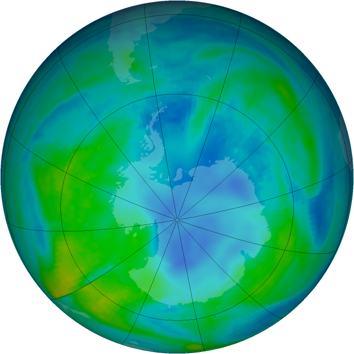Antarctic ozone map for 01 May 1987