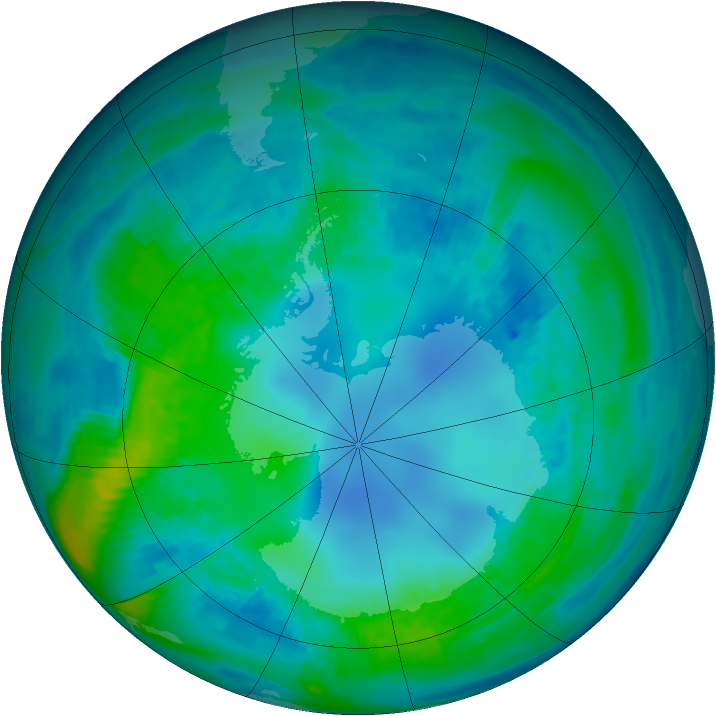 Antarctic ozone map for 02 May 1987