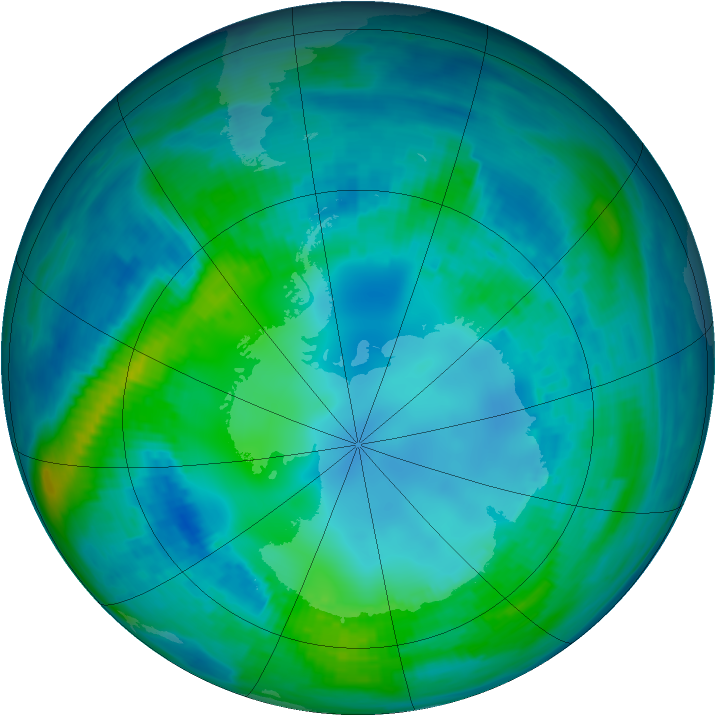 Antarctic ozone map for 03 May 1987
