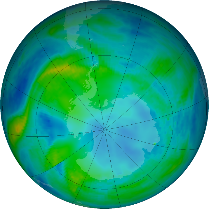 Antarctic ozone map for 04 May 1987