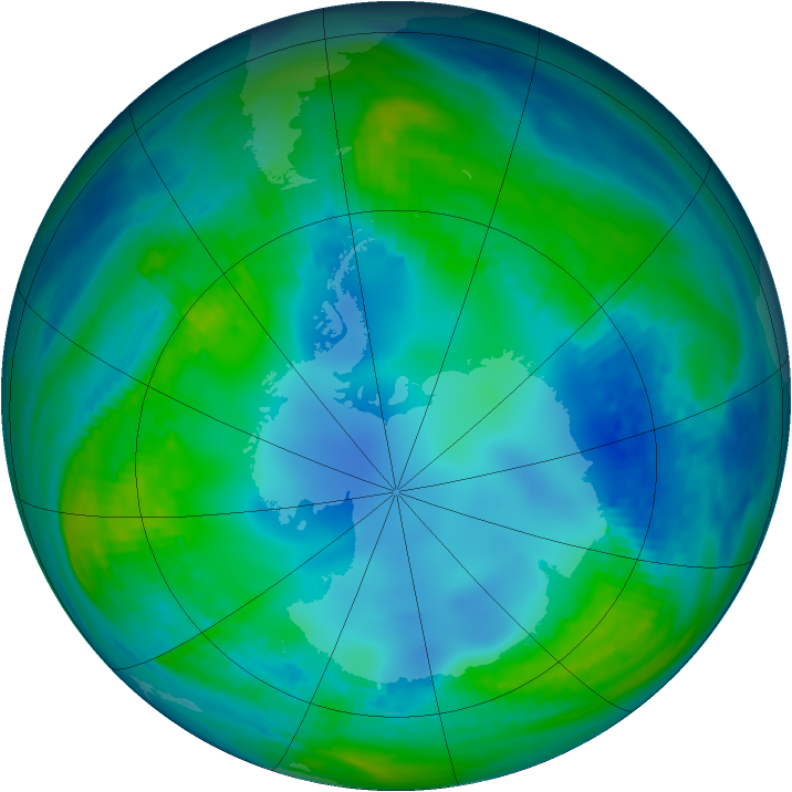 Antarctic ozone map for 14 May 1987