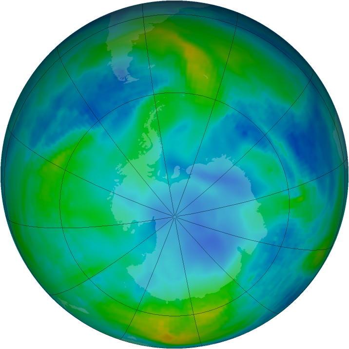 Antarctic ozone map for 24 May 1987